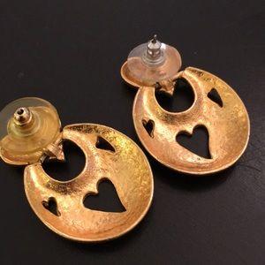 Vintage Jewelry - Gold vintage pierced heart door knocker earrings